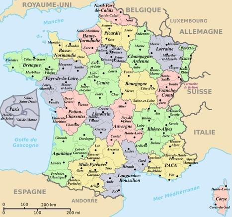 La Carte De France Avec Ses Régions   popkensburg